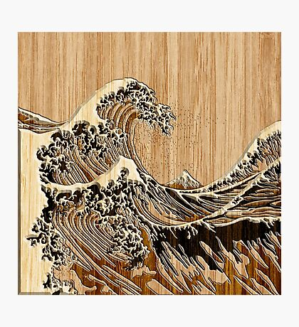The Great Hokusai Wave in Bamboo Inlay Style Photographic Print