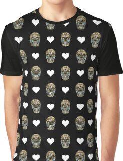 Love Hearts Skull 1 Death Goth Dark Green Halloween Dead Day Graphic T-Shirt