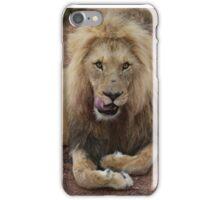 Lion Licks His Chops iPhone Case/Skin