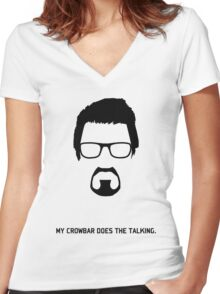 "Gordon Freeman ""My Crowbar Does The Talking"" Women's Fitted V-Neck T-Shirt"