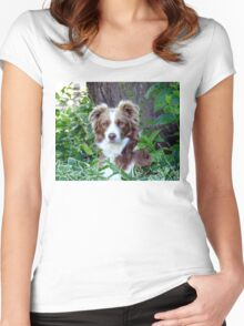 Beauty In Camouflage - Border Collie - NZ Women's Fitted Scoop T-Shirt