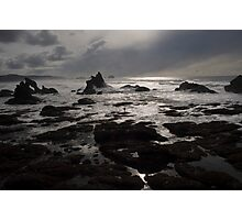 Sunset Dark Beach Stones Nature Fine Art Photography 0016 Photographic Print