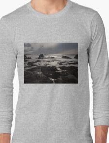 Sunset Dark Beach Stones Nature Fine Art Photography 0016 Long Sleeve T-Shirt