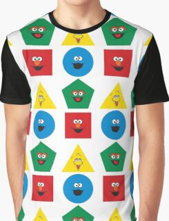 Sesame Street Primary Colors Basic Shapes Graphic T-Shirt