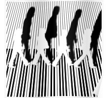 Abbey Road Zebra Crossing Piano Black and White Keyboard   Poster