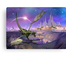 Fantasy Landscape with Dragons Canvas Print
