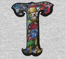 Doodle Letter T One Piece - Long Sleeve
