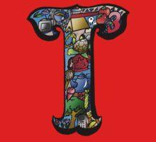 Doodle Letter T One Piece - Short Sleeve