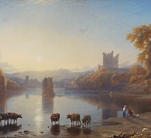 George Fennel Robson,  VIEW OF BYWELL CASTLE, NORTHUMBERLAND by Adam Asar