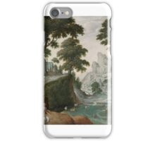 Hans Bol, MOUNTAINOUS LANDSCAPE WITH THE RETURN OF JACOB FROM CANAAN iPhone Case/Skin