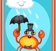 Singing In The Rain Crab Art Poster Print  by Jamie Wogan Edwards