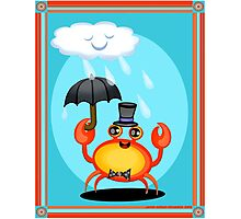 Singing In The Rain Crab Art Poster Print  Photographic Print
