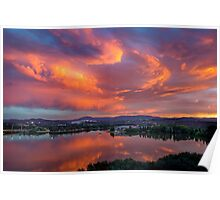 Sunset over Lake Burley Griffin in Canberra Poster