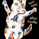 Crazed Calico Kitty Cat Design by Jamie Wogan Edwards