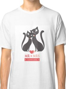 Couple of black  cats in love Classic T-Shirt