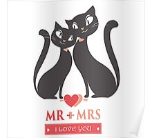 Couple of black  cats in love Poster