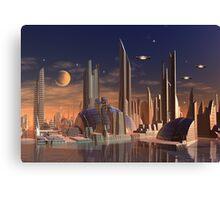 Futuristic Alien City - Computer Artwork Canvas Print