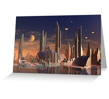 Futuristic Alien City - Computer Artwork Greeting Card
