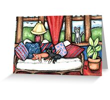 Cats Lounging In The Sunroom Art Greeting Card