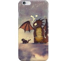 Dragons in the rain iPhone Case/Skin