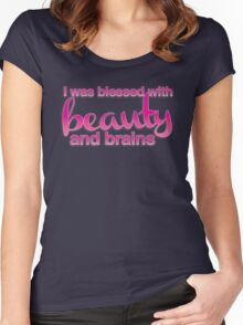 I was blessed with beauty and brains Women's Fitted Scoop T-Shirt