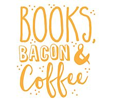 Books, Bacon and coffee Photographic Print