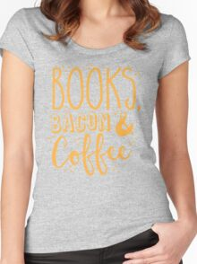 Books, Bacon and coffee Women's Fitted Scoop T-Shirt