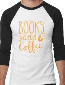 Books, Bacon and coffee Men's Baseball ¾ T-Shirt