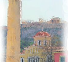 Watercolour - Athens Scene by Francis Drake