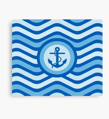 Blue Anchor Sailor Design Canvas Print