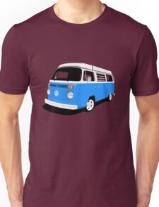 VW Camper Late Bay mid-blue and white Unisex T-Shirt