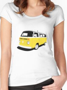 VW Camper Late Bay yellow and white Women's Fitted Scoop T-Shirt
