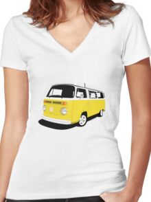 VW Camper Late Bay yellow and white Women's Fitted V-Neck T-Shirt
