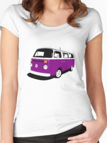 VW Camper Late Bay purple and white Women's Fitted Scoop T-Shirt