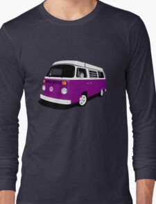 VW Camper Late Bay purple and white Long Sleeve T-Shirt