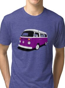 VW Camper Late Bay purple and white Tri-blend T-Shirt