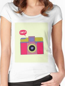 smile camera Women's Fitted Scoop T-Shirt