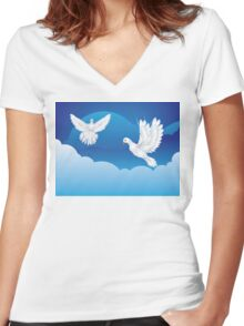 Dove in the Sky 3 Women's Fitted V-Neck T-Shirt