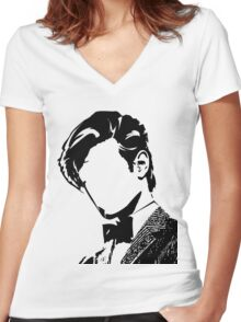 Doctor Matt The 11th - vacant expression Women's Fitted V-Neck T-Shirt