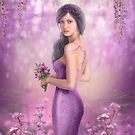 Spring Illustration beautiful Fantasy woman with purple flowers in sakura background by Alena Lazareva