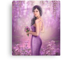 Spring Illustration beautiful Fantasy woman with purple flowers in sakura background Canvas Print