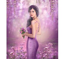 Spring Illustration beautiful Fantasy woman with purple flowers in sakura background Photographic Print