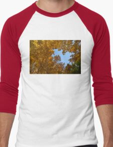 Brilliant Autumn Canopy - a Window to the Sky Horizontal Men's Baseball ¾ T-Shirt