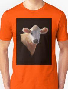 Sweet Brown Cow on Black: Oil Pastel Art Unisex T-Shirt