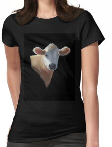 Sweet Brown Cow on Black: Oil Pastel Art Womens Fitted T-Shirt