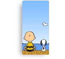 Snoopy And Charlie Brown Canvas Print