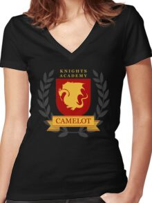 Camelot Knights Academy Print Women's Fitted V-Neck T-Shirt
