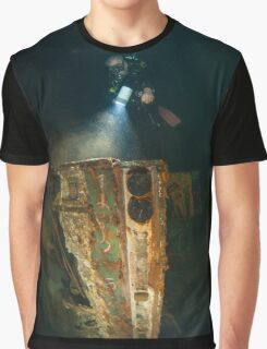 Diver at the MS Zenobia shipwreck. Graphic T-Shirt