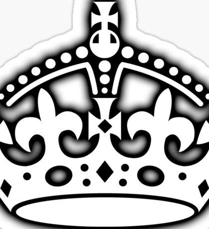 CROWN, British Crown UK, Her Majesty the Queen; white Sticker