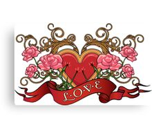 Heart in roses with thorns  Canvas Print